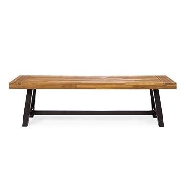 GDF Studio 300496 Colonial Outdoor Sandblack Finish Acacia Wood & Rustic Metal Bench, Brown