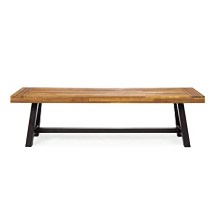 Gdf Studio Colonial Outdoor Acacia Wood And Rustic Metal Bench Perfect For Patio