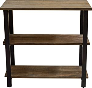 """Alaterre Furniture Sonoma 31"""" Tall 2-Shelf Metal and Solid Wood Under-Window Bookcase, Brown"""