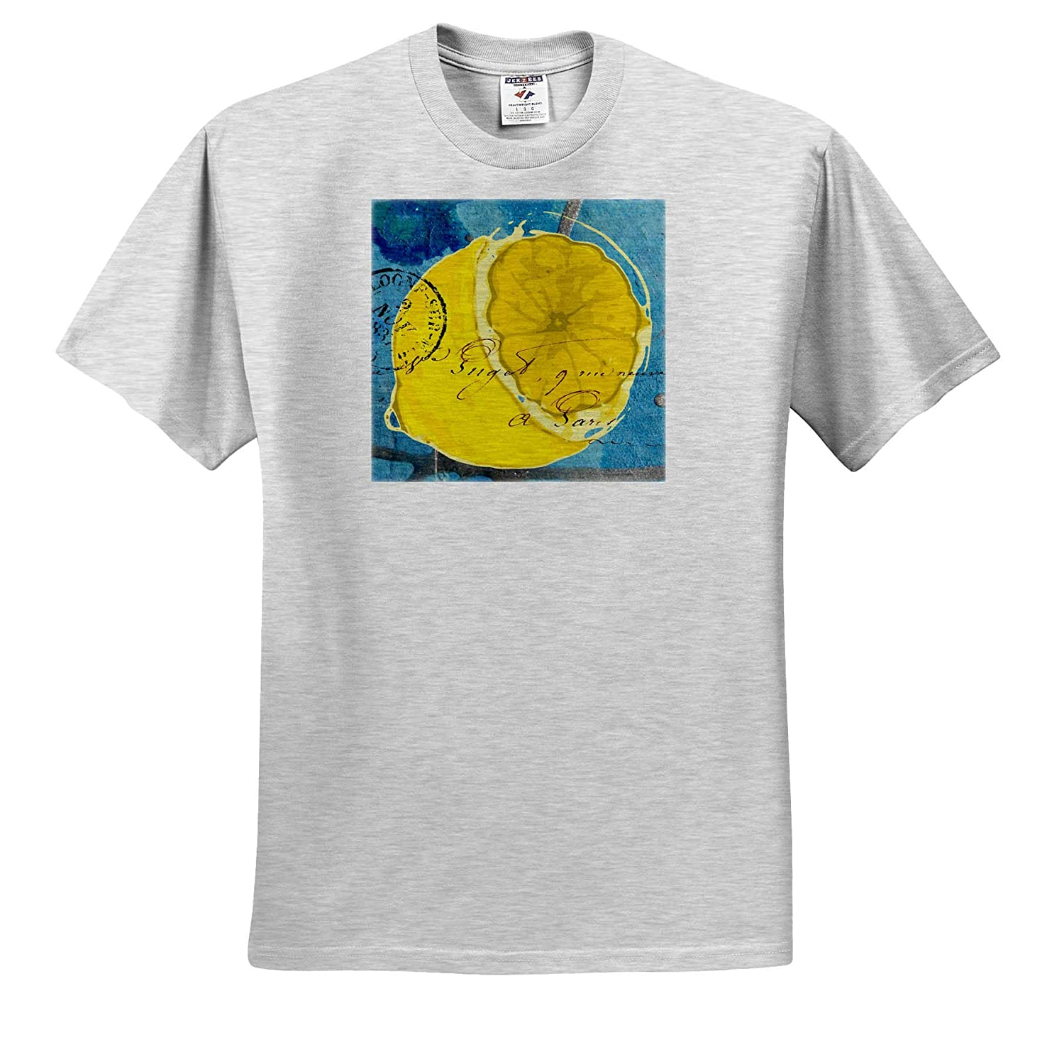 3dRose Cassie Peters Mixed Media T-Shirts Lemon Mixed Media Collage