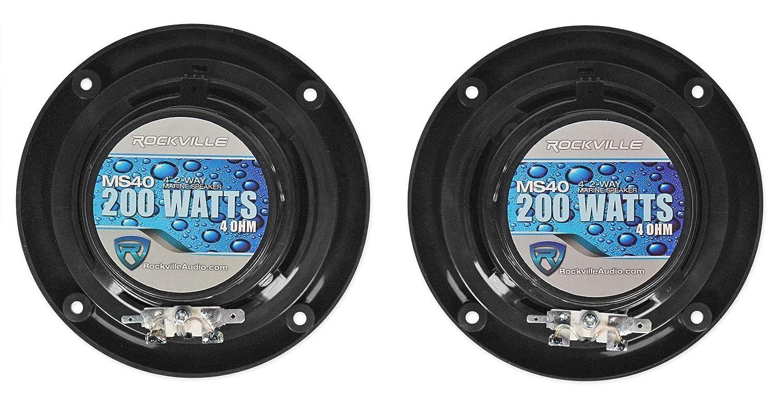 ROCKVILLE Pair MS40B Black 4 200 Watt Marine Boat Speakers Compact and Powerful