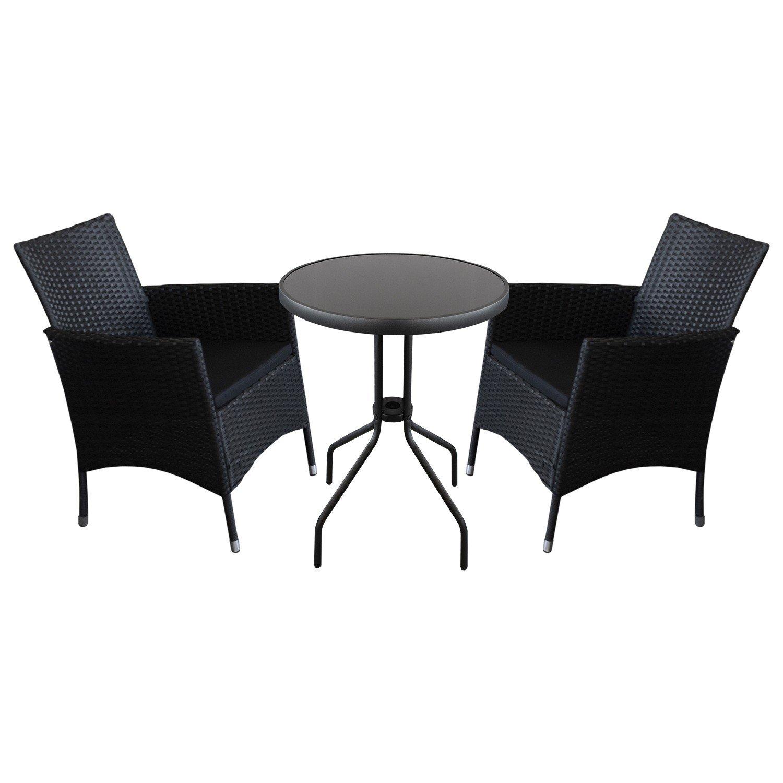 3tlg. Sitzgarnitur Balkonmöbel Bistro Set - Gartentisch, Ø60cm, schwarze undurchsichtige Tischglasplatte + 2x Rattansessel, Polyrattanbespannung Schwarz, inkl. Sitzkissen / Terrassenmöbel Gartengarnitur Sitzgruppe Gartenmöbel
