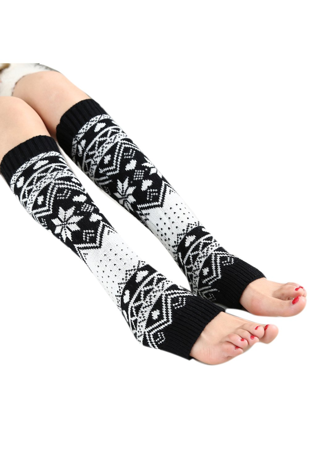 Women Winter Leg Warmers Patchwork Christmas Knitted Crochet Midi Boot Socks Set Black One Size CAVI206-Black-F