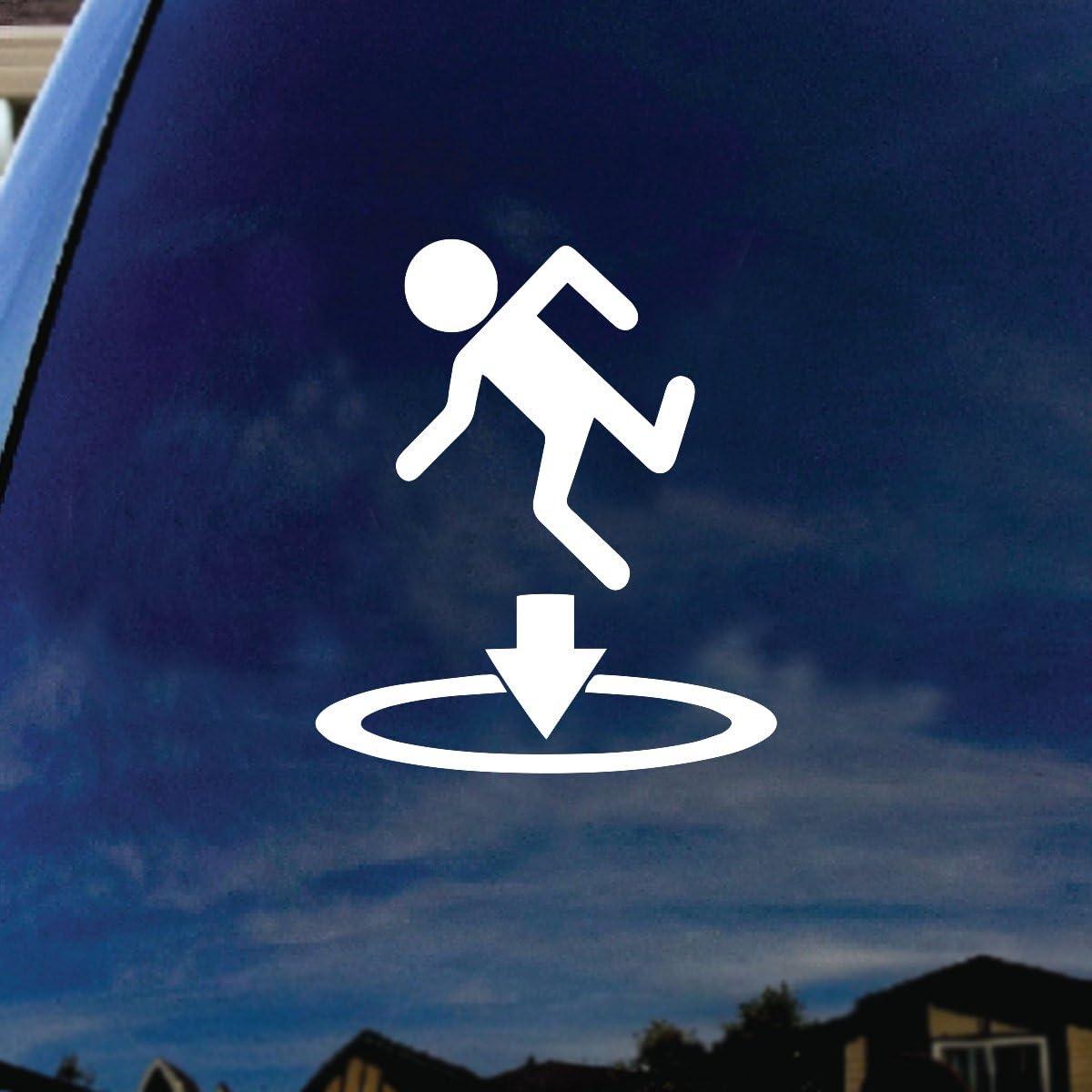 "SoCoolDesign Portal Science Stick Figure Car Truck Laptop Sticker Decal 4"" Diameter"