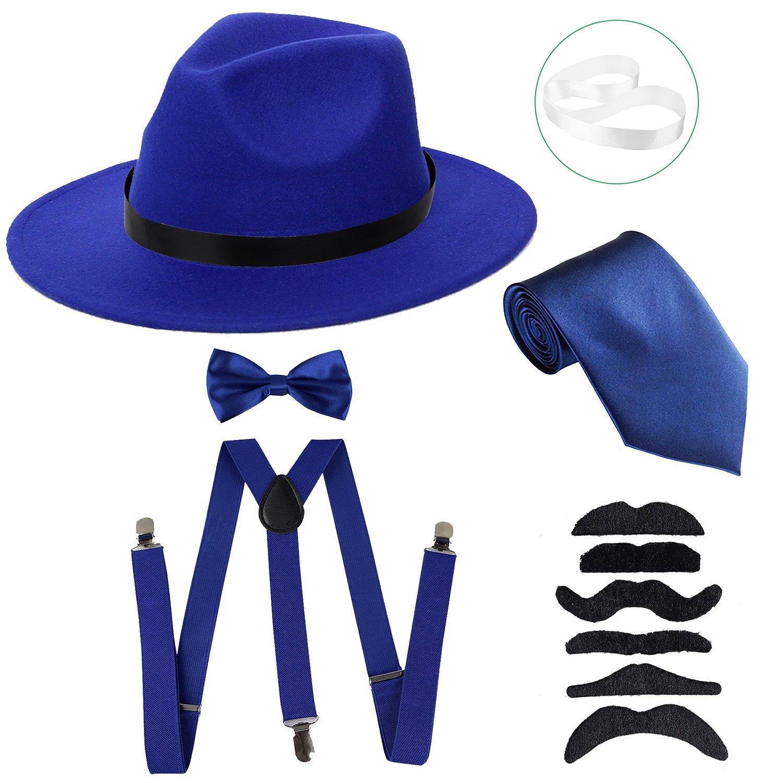 ZeroShop Men's Roaring 1920s Set Manhattan Fedora Hat,Y-Back Suspenders & Pre Tied Bow Tie, Gangster Tie & Fake Mustache (OneSize, Blue Hat & Blue Suspenders)