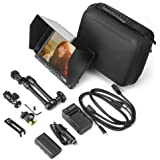 Feelworld FW74K 7 Inch HD 1280x800 IPS Camera Field Monitor with 2200mAh Battery Kit and Carrying Case for Panasonic GH4 Sony A7S FS7