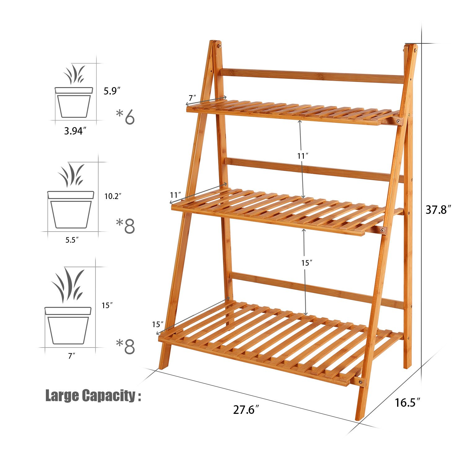 Amazoncom Ufine Bamboo Wood Ladder Plant Stand 3 Tier Foldable Flower
