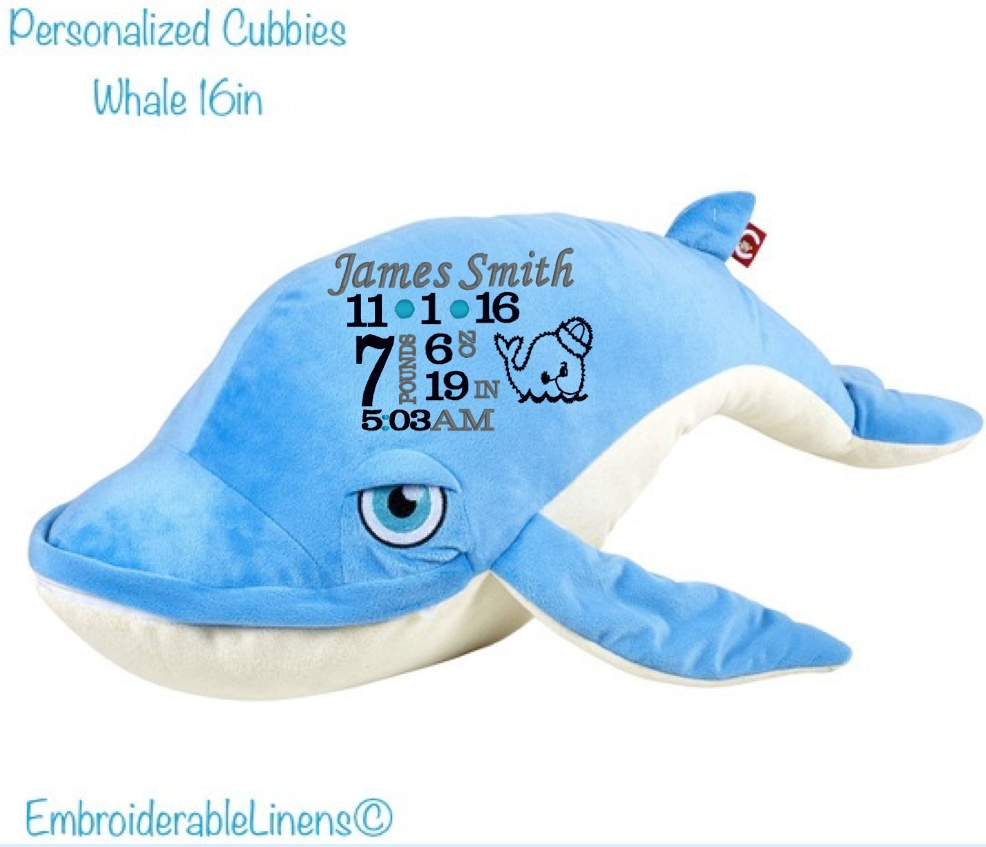 Amazon: Cubbies Whale Birth Facts Stuffed Animal Baby Keepsake: Handmade