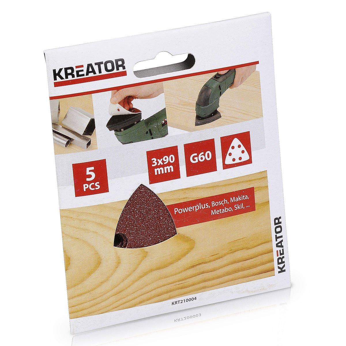 Kreator 03210008 Jeu de 5 Garnitures triangulaires 6 trous 90 x 90 x 90 mm Grain 180