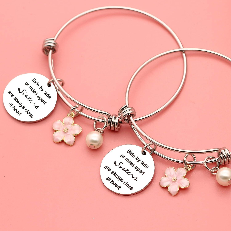 2 Pcs Sister Bracelets Bangles for Women Girls Christmas Birthday Thanksgiving Gifts Sister Gifts