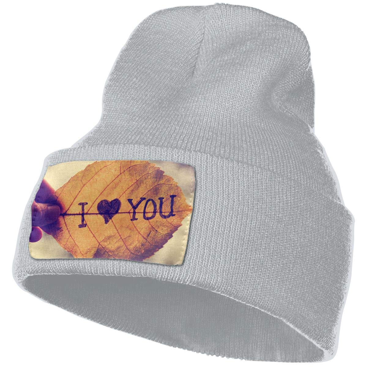 A Hand Holding A Leaf That Reads I Love You Unisex Fashion Knitted Hat Luxury Hip-Hop Cap