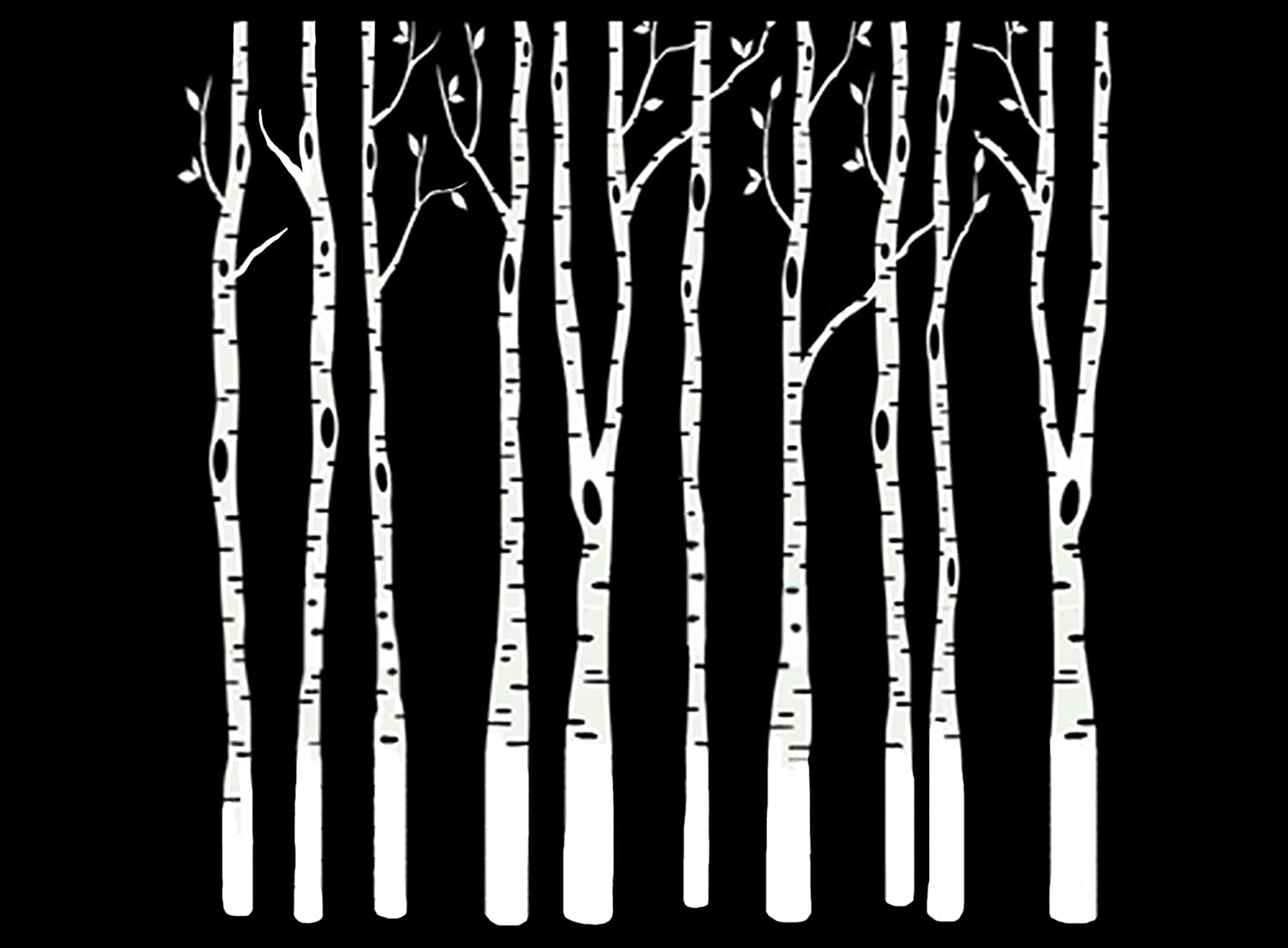 Birch Trees 3-7/8' - White 16CC575 Fused Glass Decal Must be kiln fired Captive Decals