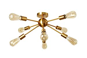 8 Light Sputnik Chandelier Light Fixtures Brushed Brass Semi Flush Mount Ceiling Light Modern Pendant Lighting Mid-Century Starburst Style Ceiling Lamp for Kitchen Dining Room Bed Room Hallwy
