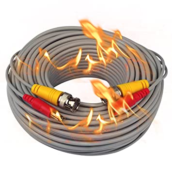 iseeusee 100 pies Fire-rated gato siamés CCTV BNC Video Cable de alimentación cable alargador