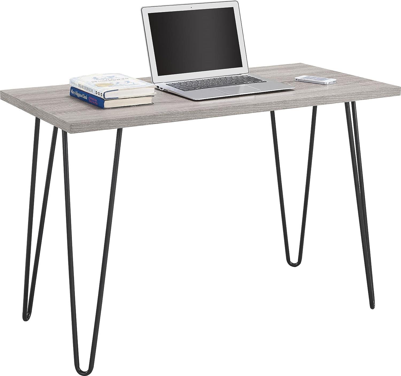 Ameriwood Home Owen Retro Desk with Metal Legs Weathered Oak