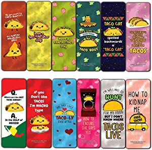 Funny Tacos Puns Jokes Bookmarks (12-Pack) - Six Assorted Bulk Pack Book Page Clippers – Great Stocking Stuffers Gifts for Men, Women, Boys, Girls, Teens – Unique Token Giveaways