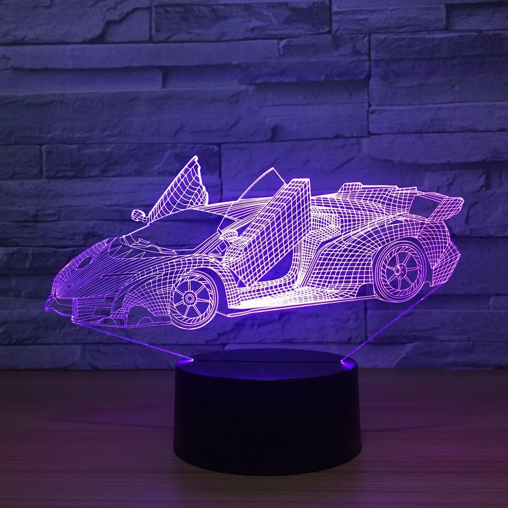 7 Color Changing Night Lamp 3D Atmosphere Bulbing Light 3D Visual Illusion LED Lamp for Kids Toy Christmas Birthday Gifts (Racing Car)