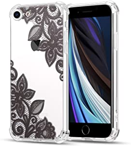 LayYun Case for Apple iPhone 8 iPhone 7, 4.7-Inch, Clear iPhone Case with Design Embossed Floral Pattern TPU Soft Bumper Shock Absorption Slim Protective Cover (Black Art Flower)