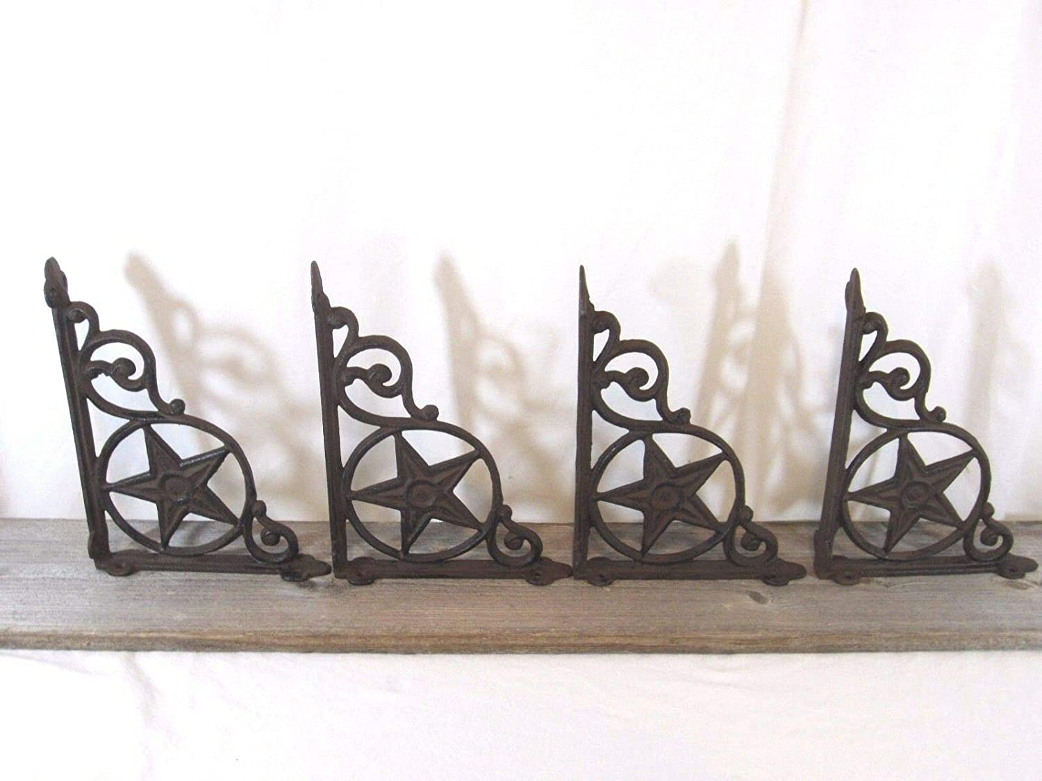 "6 BROWN ANTIQUE-STYLE 7/"" SHELF BRACKETS CAST IRON garden wall rustic CLASSIC"