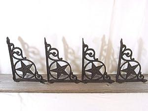 4 Cast Iron Antique Star Brackets Garden Braces Shelf Bracket Rustic Vintage Looking