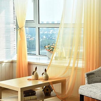 Pueri Cortinas De Gasa Para Salón De Color Degradado 100x270cm Pañales Transparente Decorativos De Ventana 2pcs Amarillo