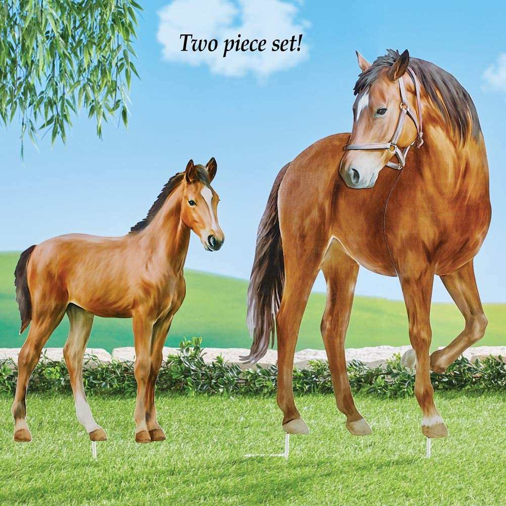 Includes a Mare and Her Foal Collections Etc Realistic Horse Metal Yard Stakes Set of 2 Outdoor Decorative Accessories for Horse Lovers