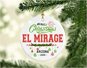 Christmas Decorations Tree Ornament - Gifts Hometown State - Merry Christmas El Mirage Arizona 2020 - Gift for Family Rustic 1St Xmas Tree in Our New Home 3 Inches White