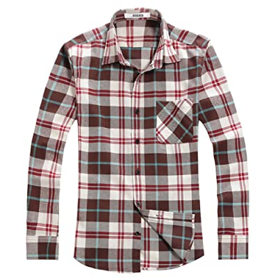 OCHENTA Men's Button Down Plaid Flannel Shirt, Long Sleeve Casual Tops at Men's Clothing store