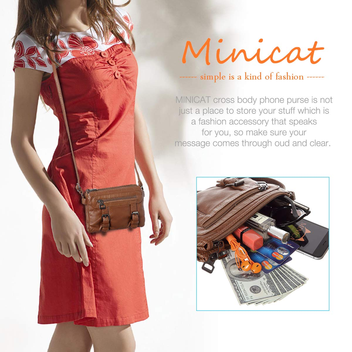 Women Soft Synthetic Leather Small Crossbody Bag Mini Crossbody Cell Phone Purse Wallet(Brown) by MINICAT (Image #7)