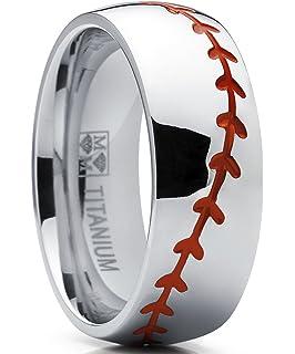 Baseball Rings Sports Rings USA Made Titanium Rings Free Sizing