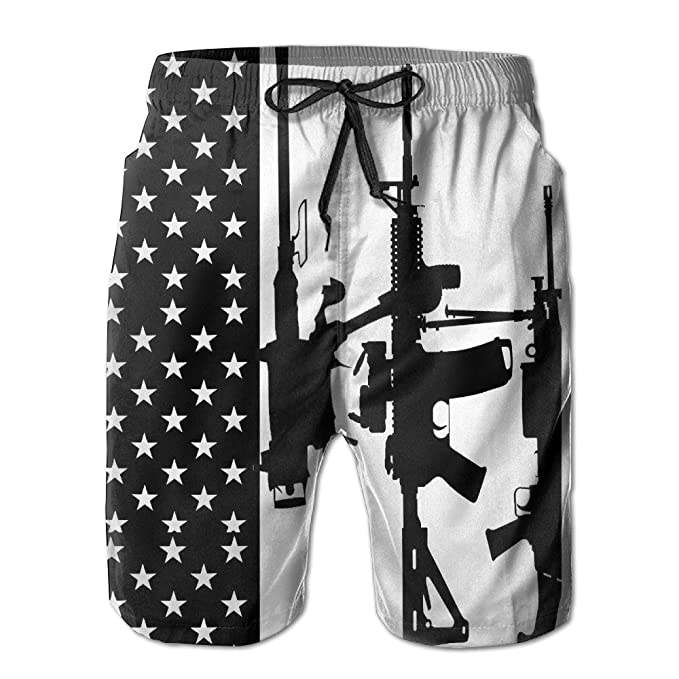 b09ccc05b0e Amazon.com  ONE-HEART-HR Men s Usa Flag Gun Pattern Swim Trunk Board Short  Beach Shorts  Clothing