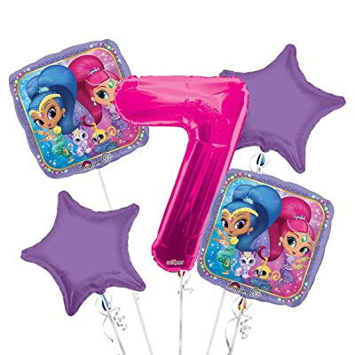 Shimmer and Shine Balloon Bouquet 7th Birthday 5 pcs - Party Supplies: Health & Personal Care