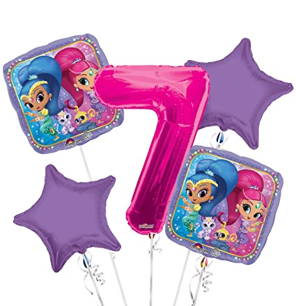 Amazon.com: Shimmer y Shine Globo Ramo 7th Birthday 5 Pcs ...