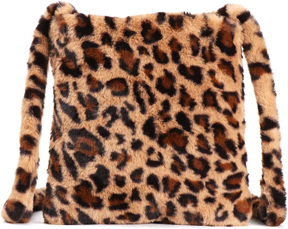 Fluffy leopard print bag
