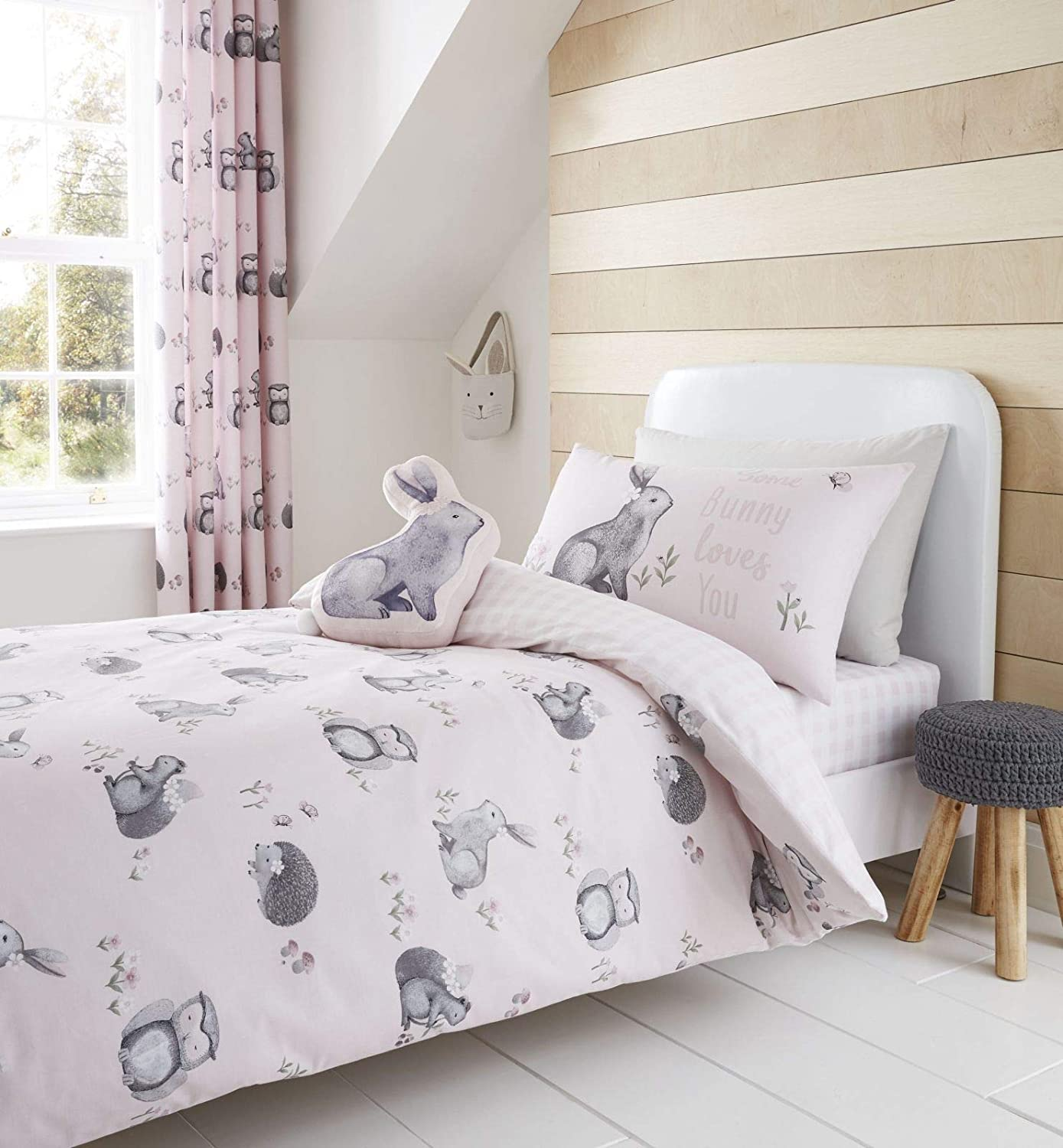 Catherine Lansfield Woodland Friends Easy Care Double Duvet Set Pink Turner Bianca BD/49204/W/DQS/PK