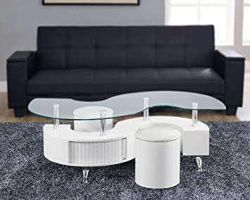 New S Wave Madrid Designer Glass Storage Coffee Table With 2 Matching  Stools Available In 5