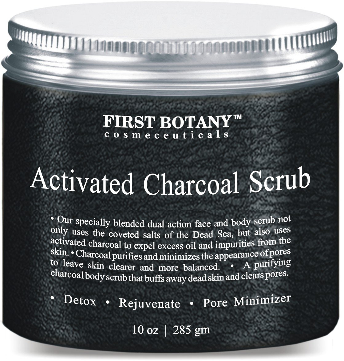 First Botany Cosmeceuticals The BEST Charcoal Scrub 10 oz. - Best for Facial Scrub Pore Minimizer & Reduces Wrinkles Acne Scars Blackheads & Anti Cellulite Treatment - Great as Body Scrub Body & Face Cleanser