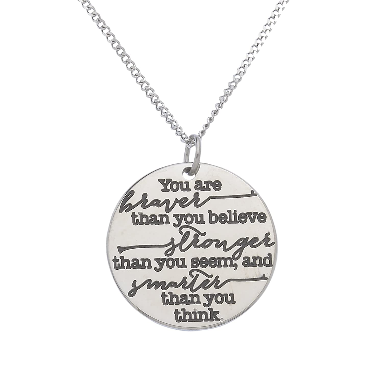 """""""You're Braver Than You Believe, Stronger Than You Seem Christopher Robin"""" Inspirational Pendant"""