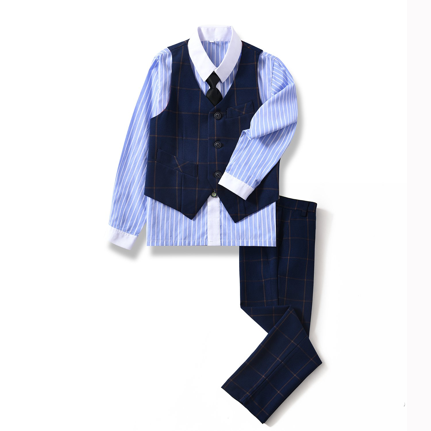 Yuanlu 4 Piece Youth Boys' Vest Set with Pants Dress Shirt and Tie for Wedding Navy Plaid Size 4T