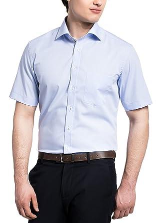 f5af7cf24b93 eterna Herrenhemd Kurzarm Modern Fit Blau Business Businesshemd Elegantes  Hemd Hemden Freizeit Baumwolle  Amazon.de  Bekleidung