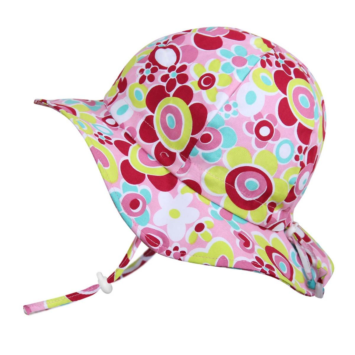 Twinklebelle Children's Cotton Sun Protective Hats 50 UPF, Adjustable, Stay-On, Packable (L: 2-12Y, Floppy Hat: Pink Sweethearts)
