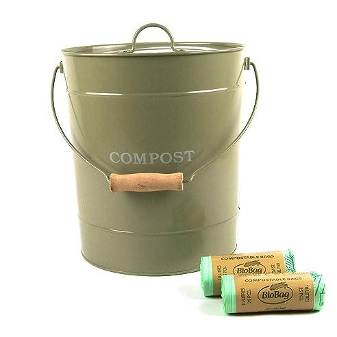 Komposteimer, aus Metall, für die Küche, mit 50 x 10 l ...