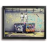 BLI BYAN Banksy バンクシー ストリート 木製の枠 アートフレーム・ポスター ポスターフレーム インテリア アートポスター 壁掛け クジラ 印刷する絵画 アートパネル 玄関 引き越し おしゃれ 部屋 Black