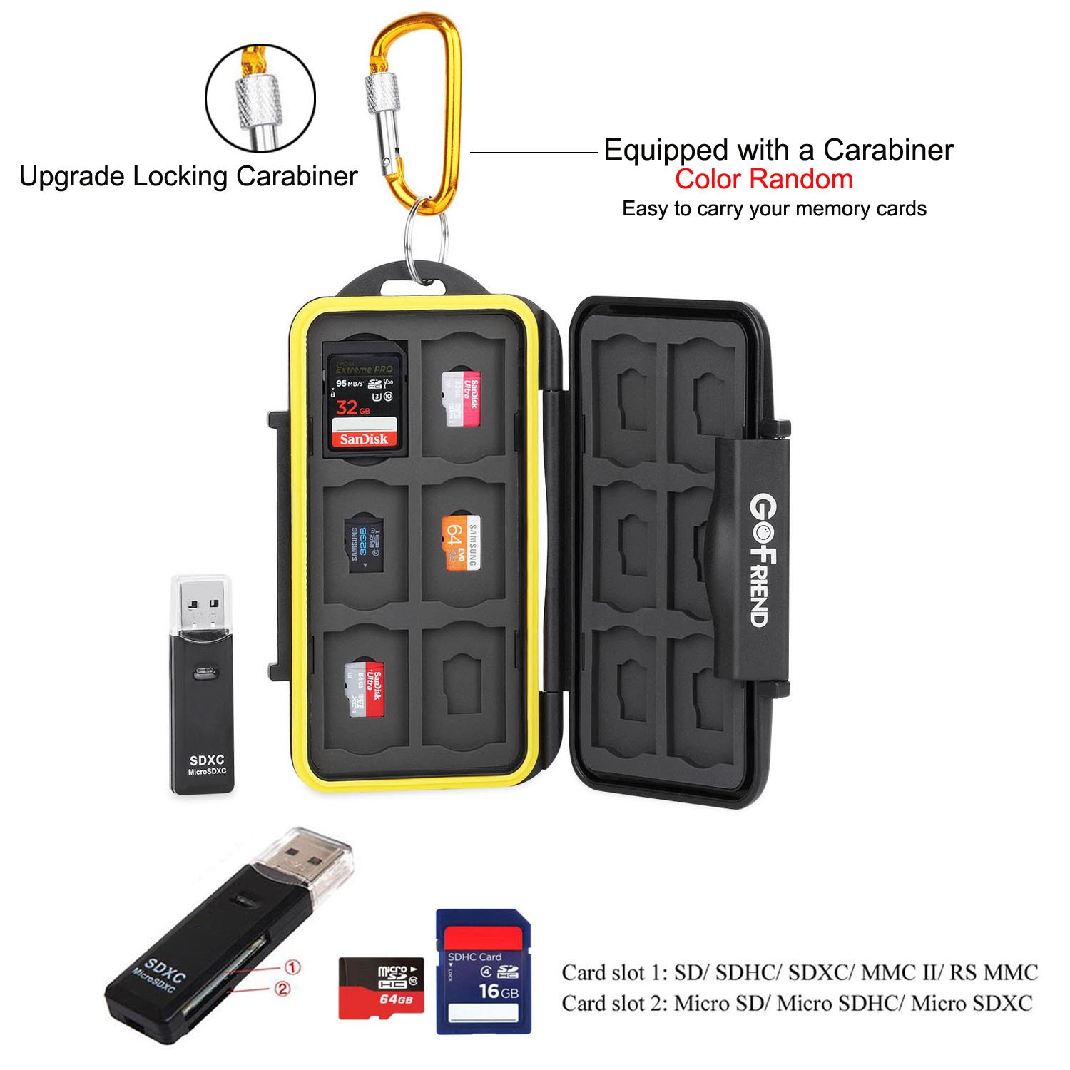 GoFriend Water-Resistant 24 Slots Memory Card Carrying Cases Professional Anti-shock Holder Storage SD SDHC SDXC and Micro SD TF Cards Protector Cover With Carabiner & Card Reader by GoFriend (Image #5)