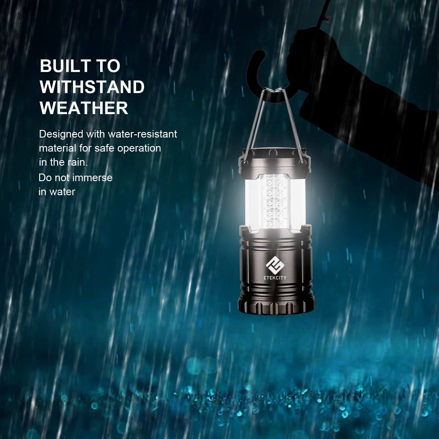 Etekcity CL10 Portable LED Camping Lantern Flashlight with 3 AA Batteries-Survival Light for Emergency, Hurricane, Outage (Black, Collapsible)