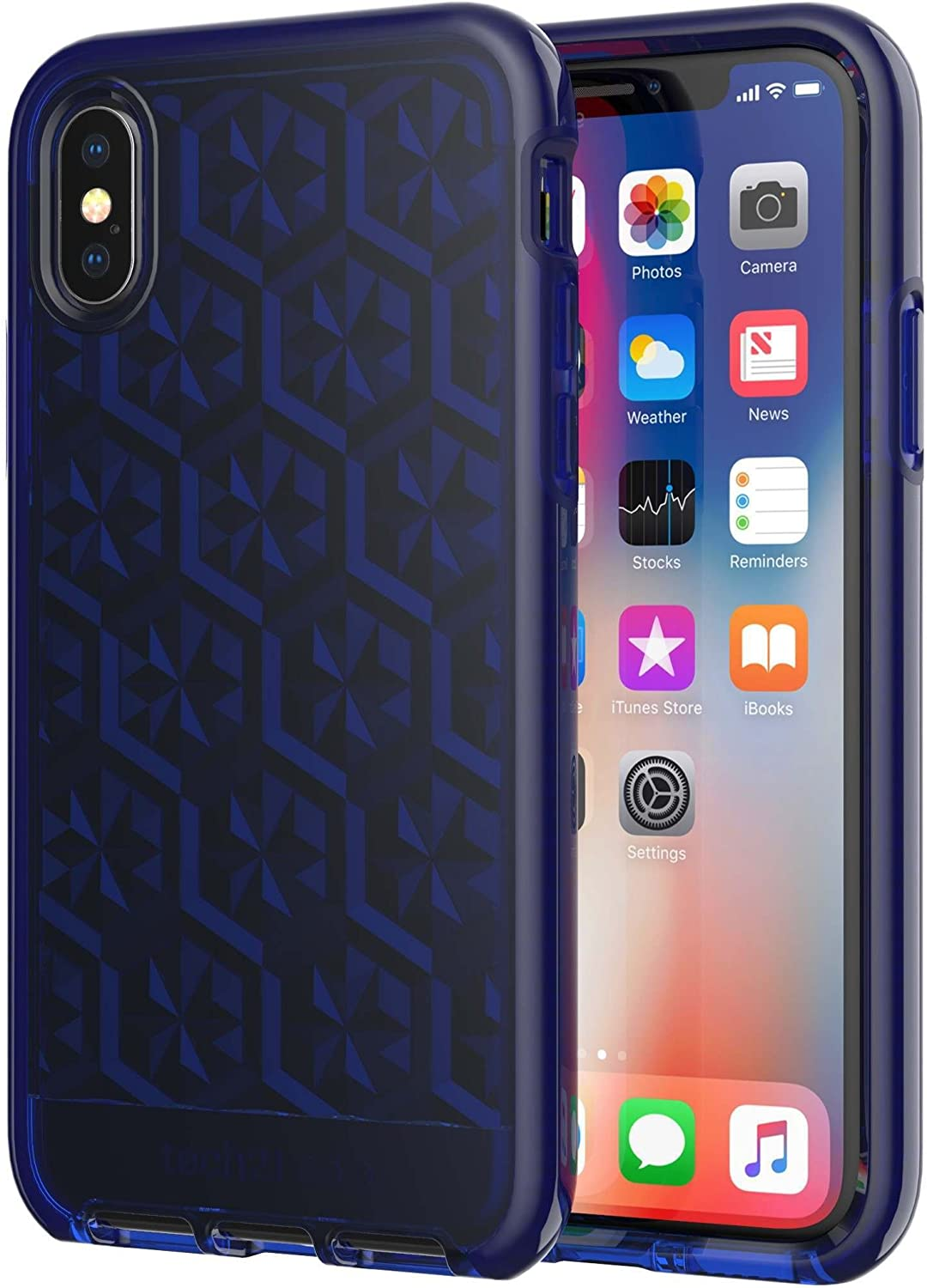 tech21 Evo Gem Phone Case for Apple iPhone X and Xs - Dark Blue, Model: T21-5904