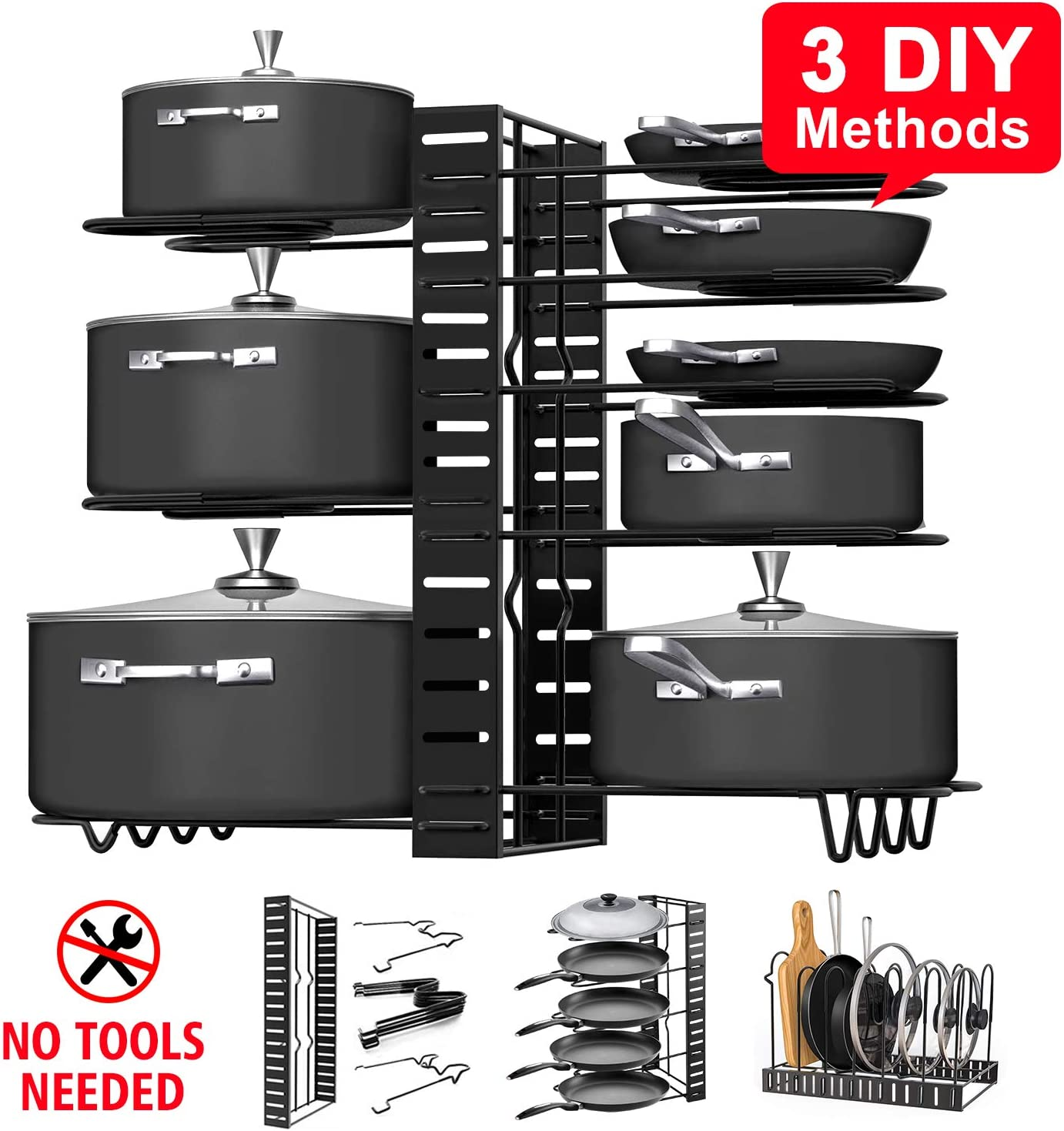 Amazon Com Pot Rack Organizers G Ting 8 Tiers Pots And Pans Organizer Adjustable Pot Lid Holders Pan Rack For Kitchen Counter And Cabinet Lid Organizer For Pots And Pans With 3 Diy