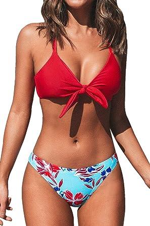 CUPSHE Damen Bikini Set Triangel Breites Unterbrustband Gerippte Bademode Zweiteiliger Badeanzug