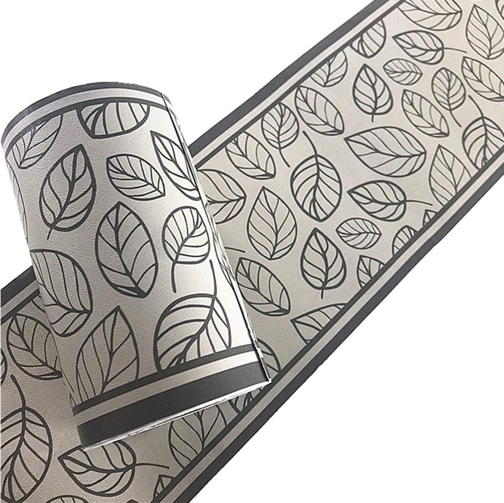 Yija Gray Leaves PVC Self Adhesive Wallpaper Border Peel and Stick Wall Borders for Bathroom Bedroom Living Room Home Decor Wall Stickers 3.94 inch X 32.8 feet