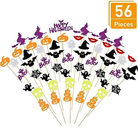 Blulu 56 Pezzi Halloween Topper per Torte Fantasma Zucca Strega Cupcake  Topper Halloween Torta Forniture per 7dda56e79b02